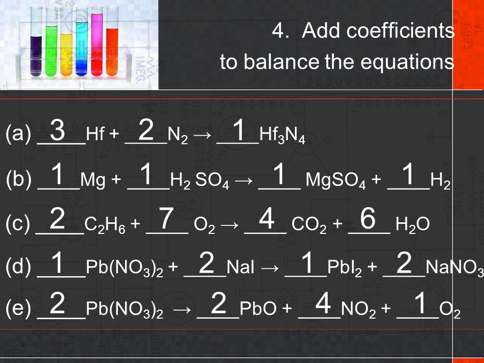 4. Add coefficients to balance the equations
