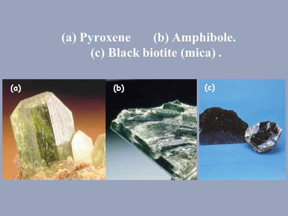 (a) Pyroxene (b) Amphibole. (c) Black biotite (mica) .