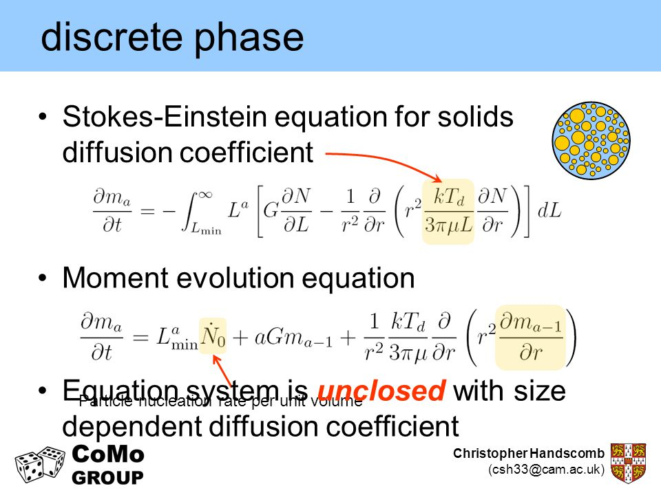 discrete phase Stokes-Einstein equation for solids diffusion coefficient. Moment evolution equation.