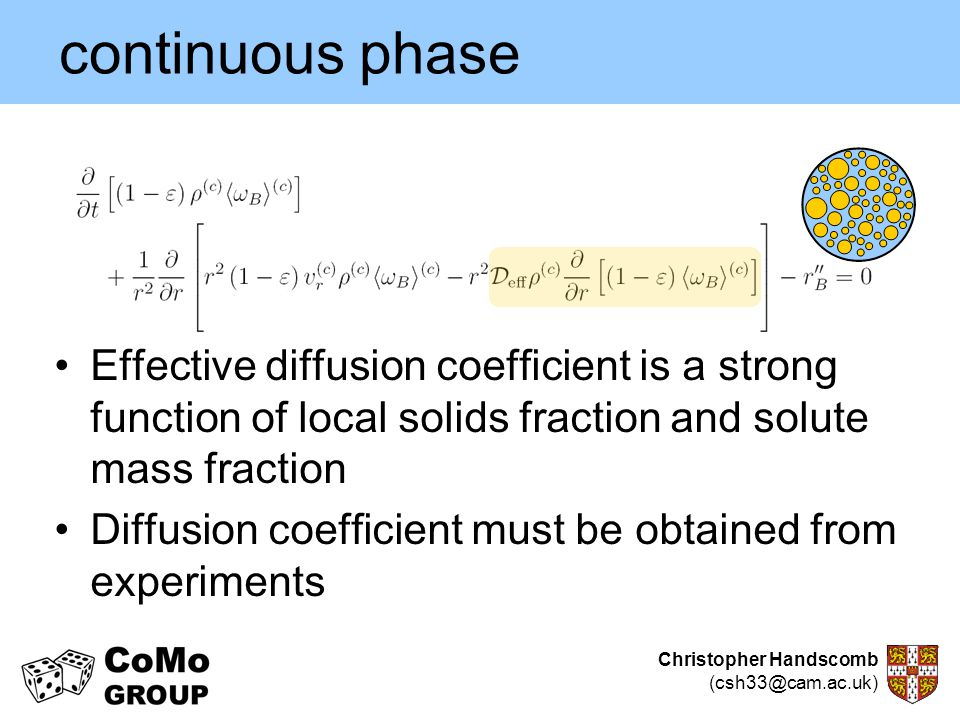 continuous phase Effective diffusion coefficient is a strong function of local solids fraction and solute mass fraction.
