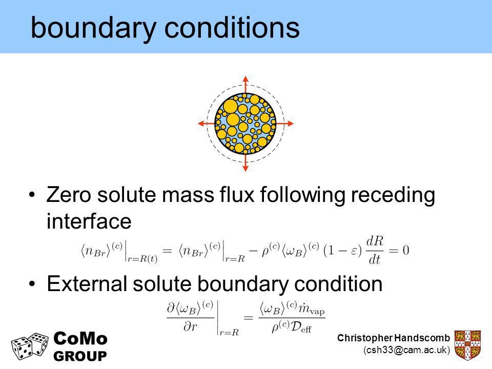 boundary conditions Zero solute mass flux following receding interface