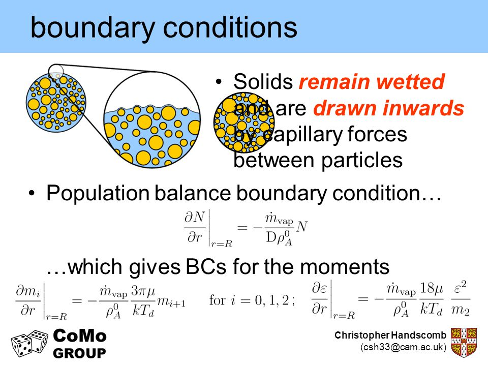 boundary conditions Solids remain wetted and are drawn inwards by capillary forces between particles.