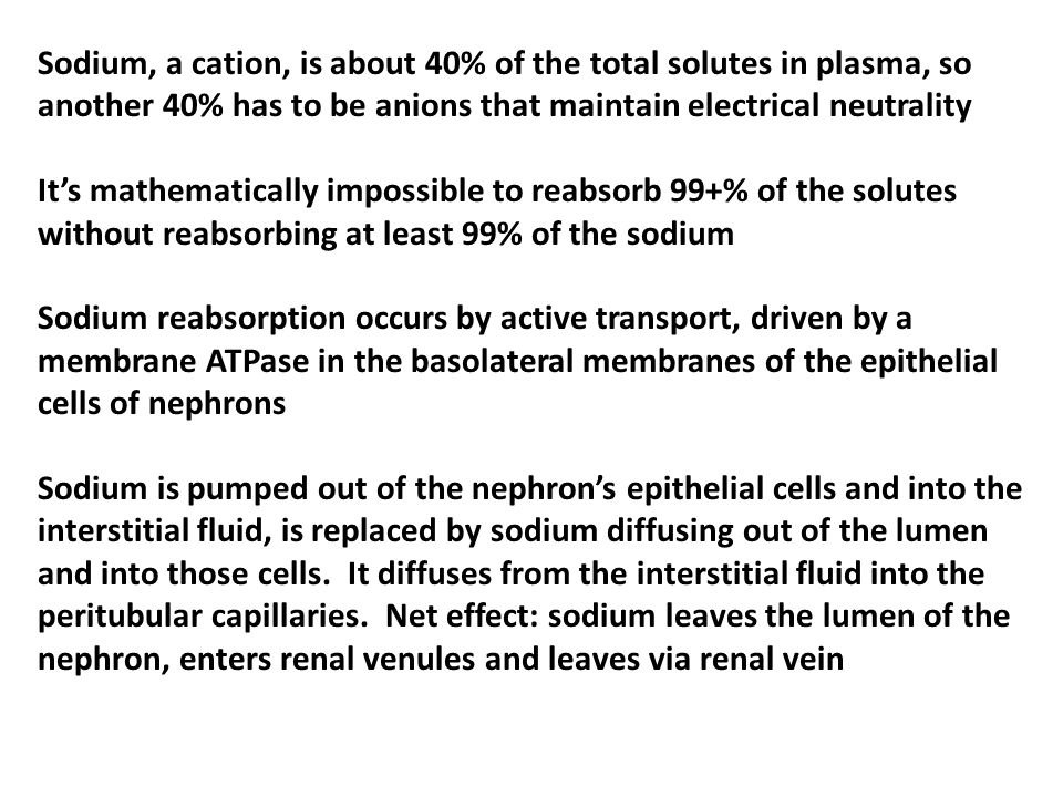 Sodium, a cation, is about 40% of the total solutes in plasma, so