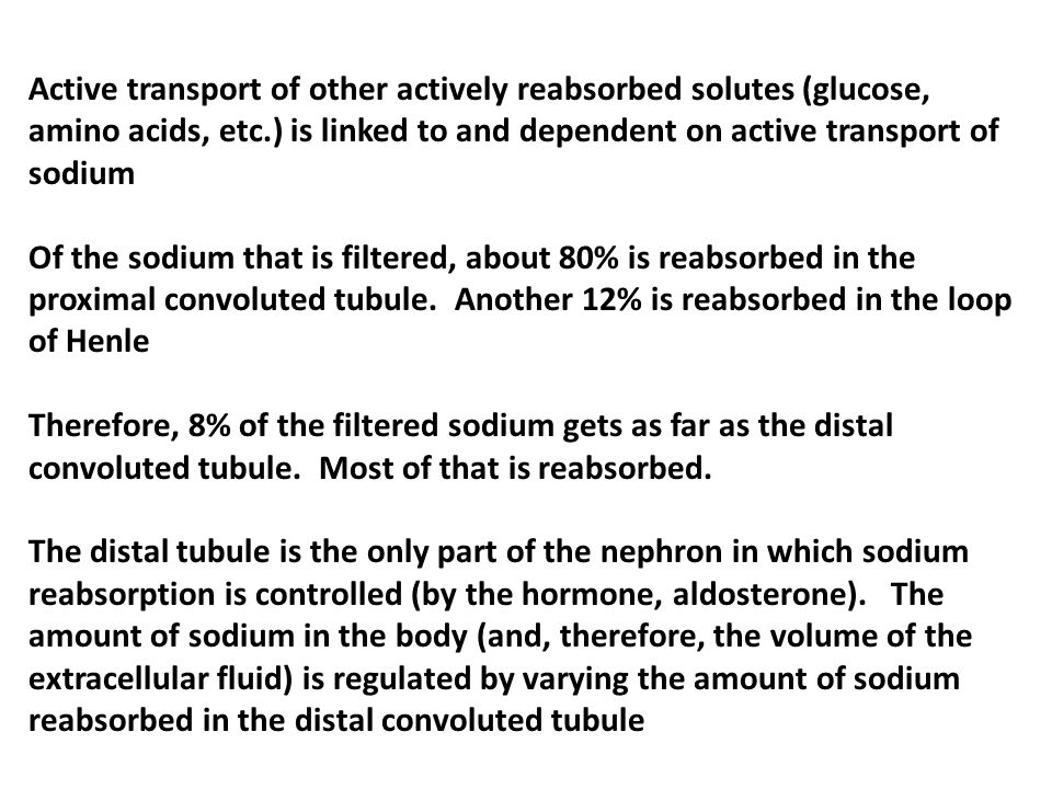 Active transport of other actively reabsorbed solutes (glucose, amino acids, etc.) is linked to and dependent on active transport of sodium