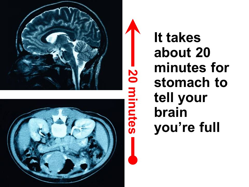 It takes about 20 minutes for stomach to tell your brain you're full