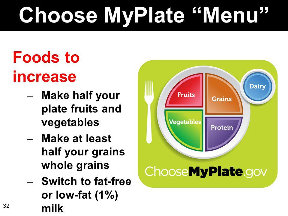 Choose MyPlate Menu Foods to increase