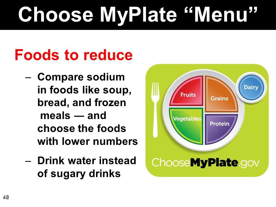 Choose MyPlate Menu Foods to reduce