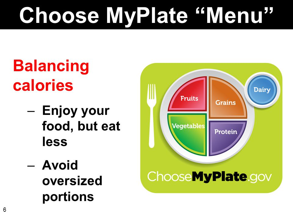 Choose MyPlate Menu Balancing calories Enjoy your food, but eat less