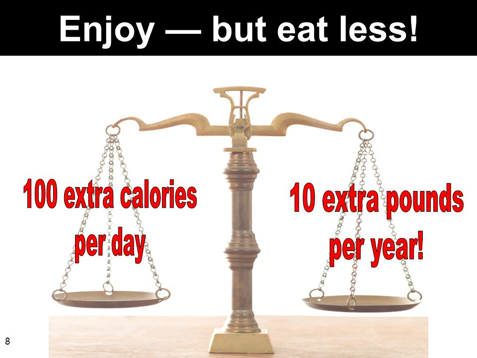 Enjoy — but eat less! 100 extra calories 10 extra pounds per day