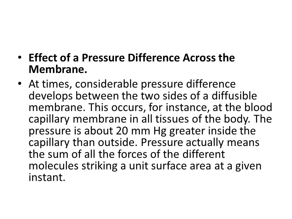 Effect of a Pressure Difference Across the Membrane.