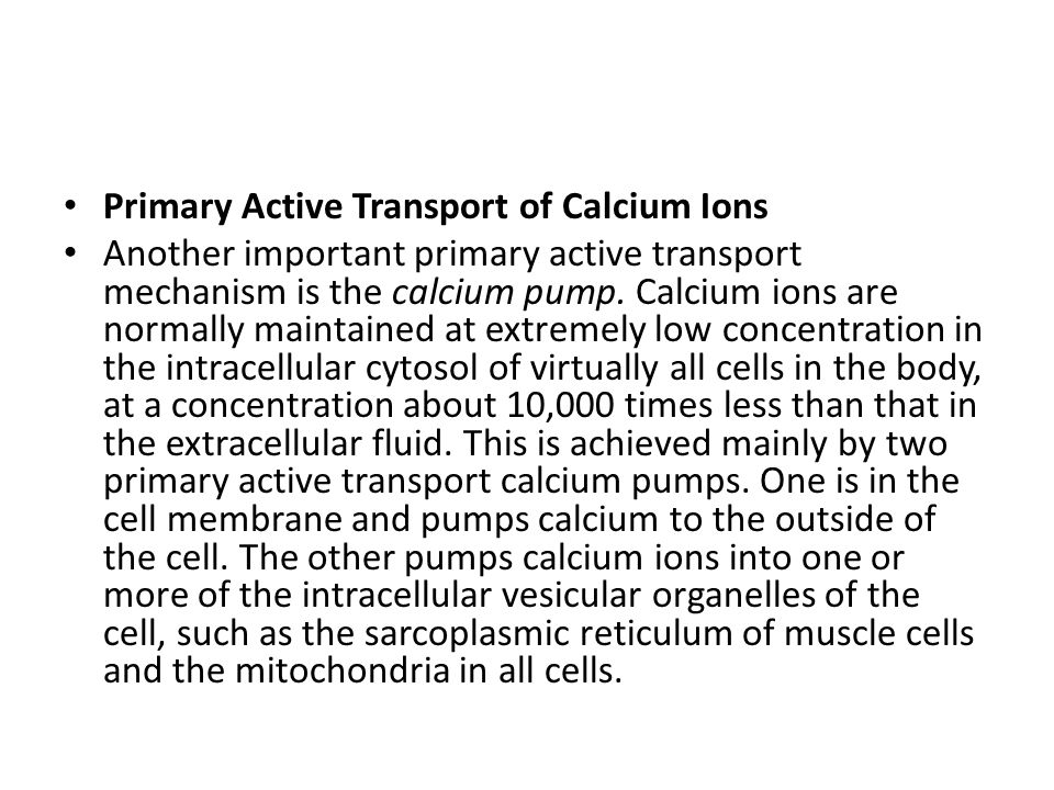 Primary Active Transport of Calcium Ions