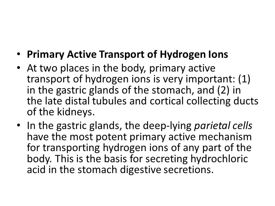Primary Active Transport of Hydrogen Ions
