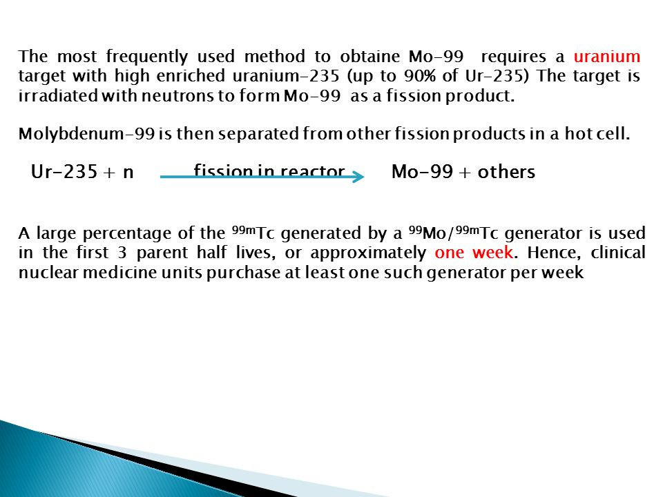 Ur-235 + n fission in reactor Mo-99 + others