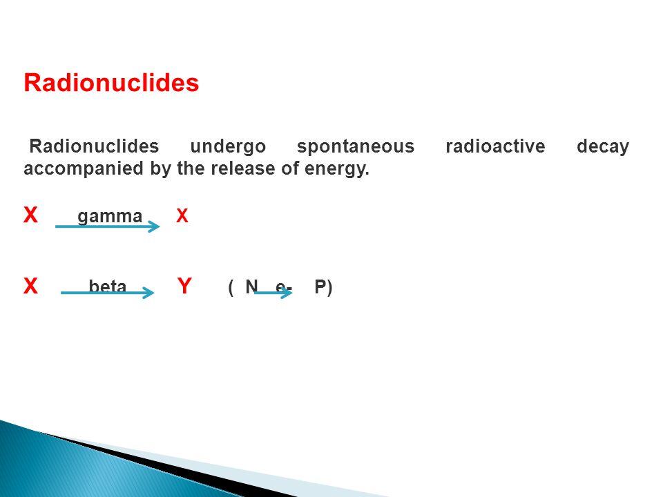 Radionuclides X gamma X X beta Y ( N e- P)