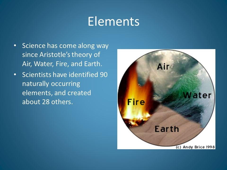 Elements Science has come along way since Aristotle's theory of Air, Water, Fire, and Earth.