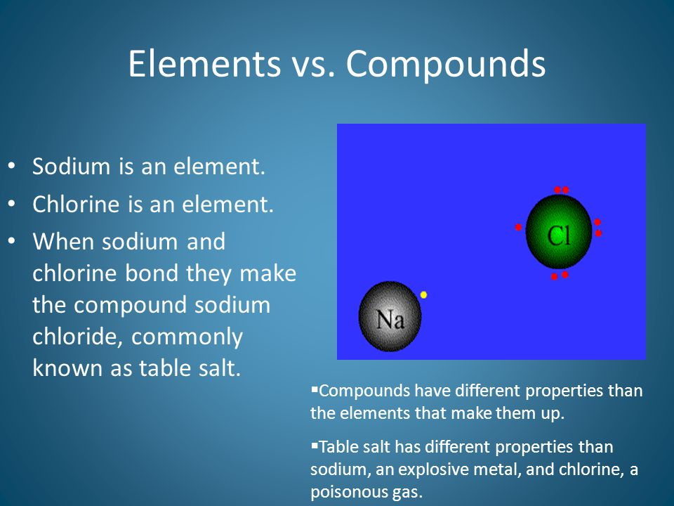 Elements vs. Compounds Sodium is an element. Chlorine is an element.