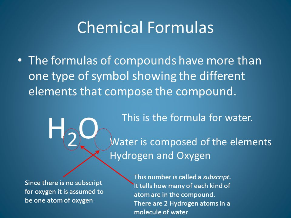 Chemical Formulas The formulas of compounds have more than one type of symbol showing the different elements that compose the compound.