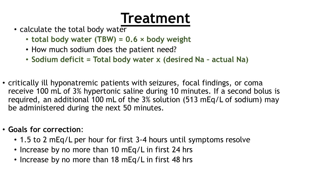 Treatment calculate the total body water