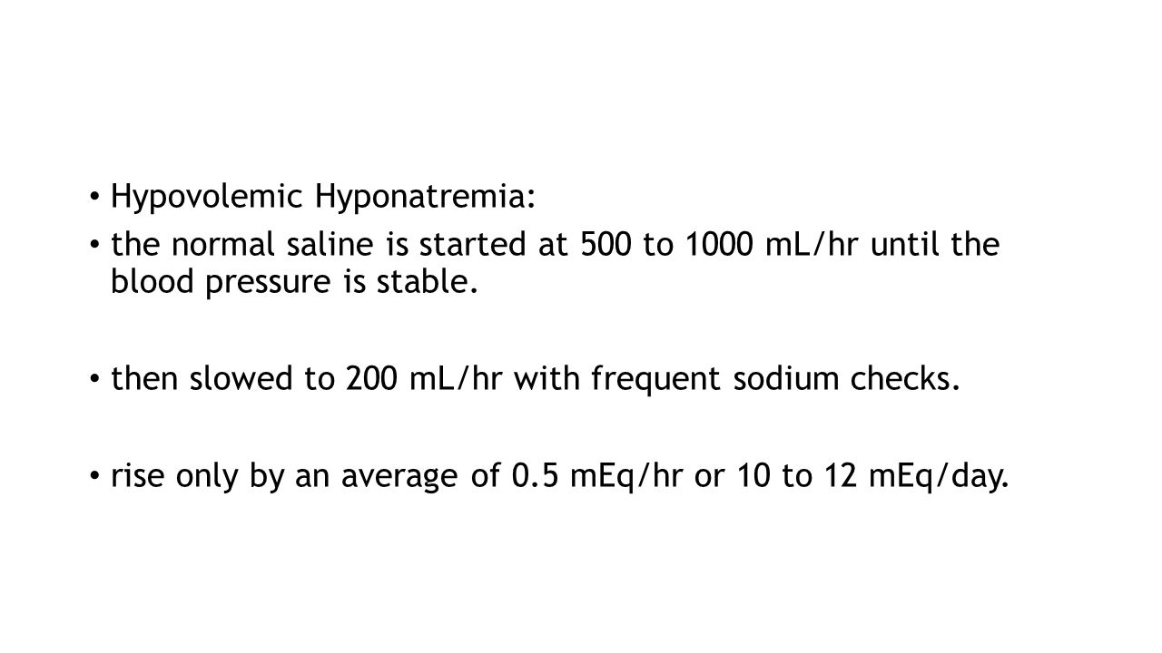 Hypovolemic Hyponatremia: