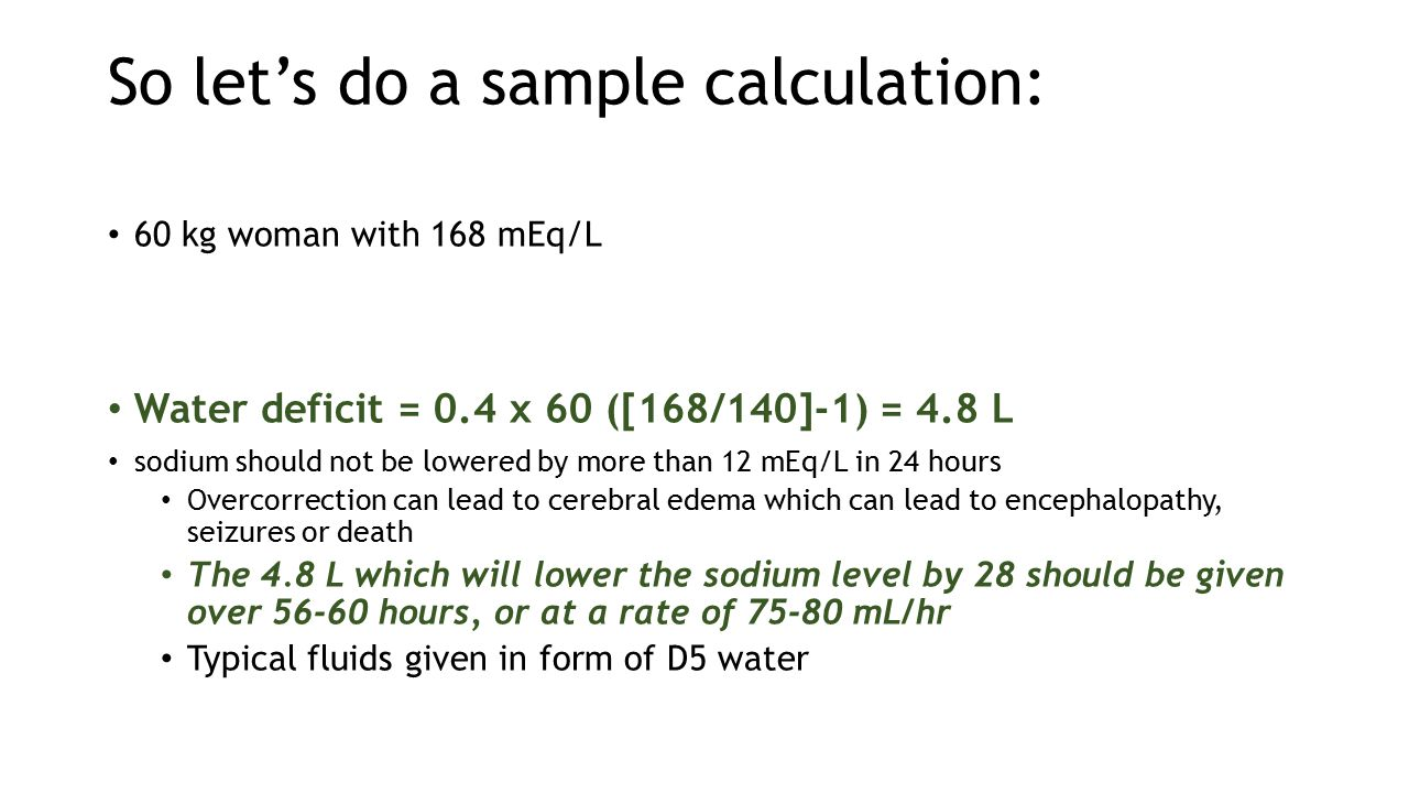 So let's do a sample calculation:
