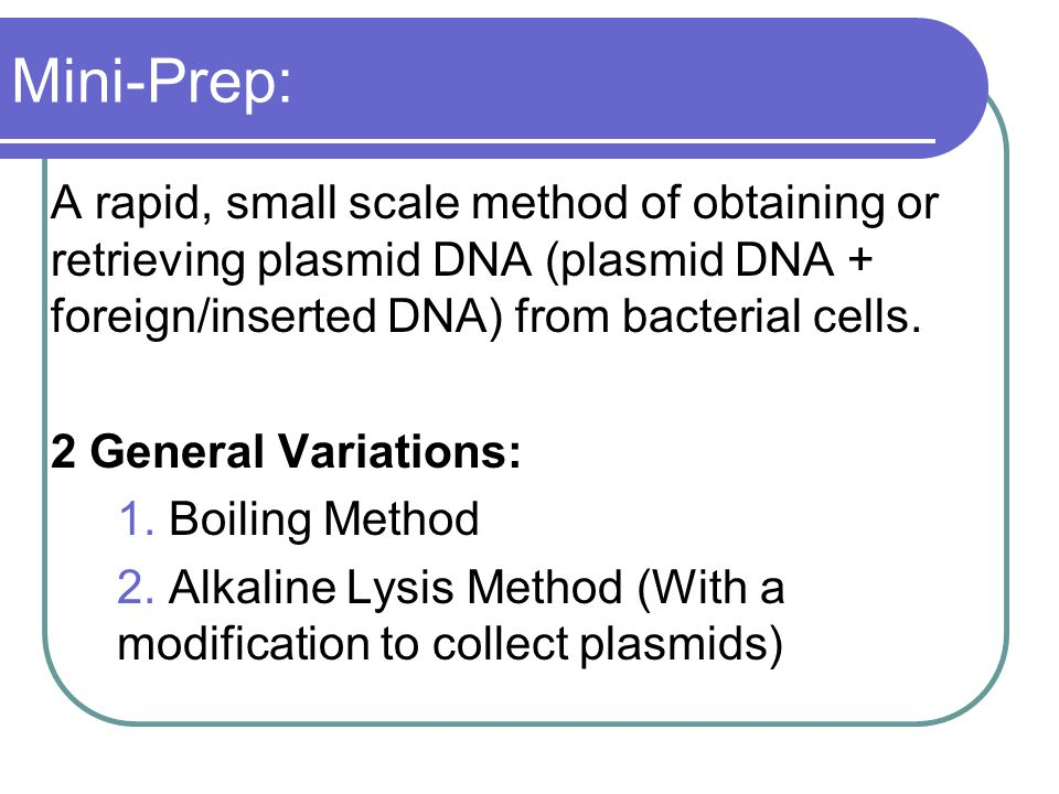 Mini-Prep: A rapid, small scale method of obtaining or retrieving plasmid DNA (plasmid DNA + foreign/inserted DNA) from bacterial cells.