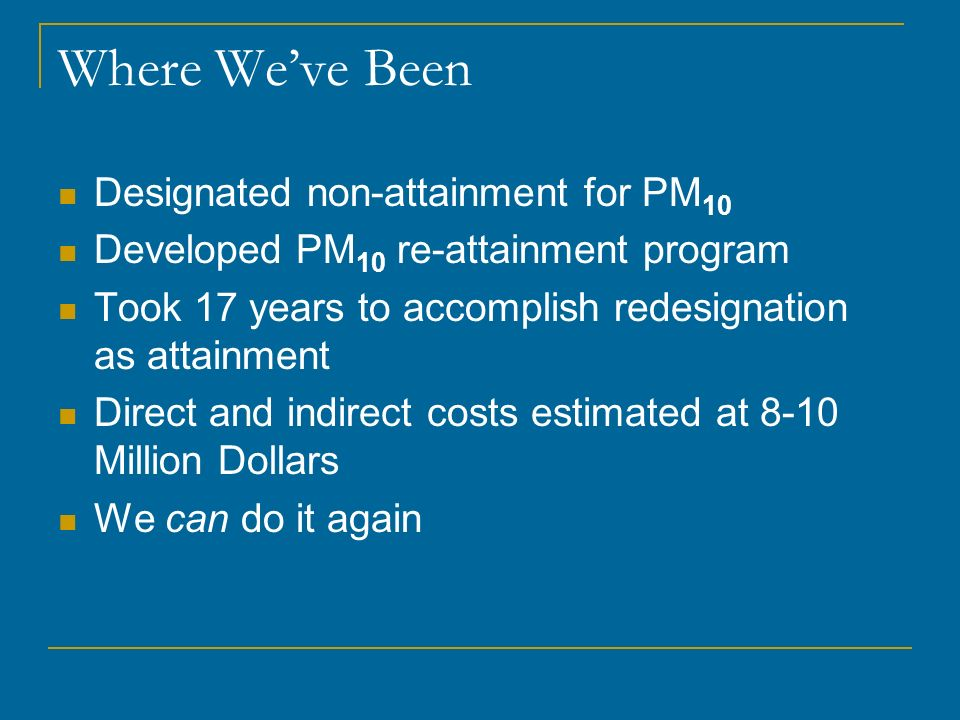 Where We've Been Designated non-attainment for PM10