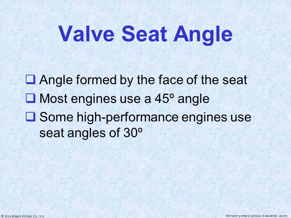 Valve Seat Angle Angle formed by the face of the seat