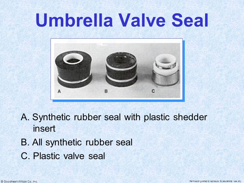 Umbrella Valve Seal A. Synthetic rubber seal with plastic shedder insert. B. All synthetic rubber seal.