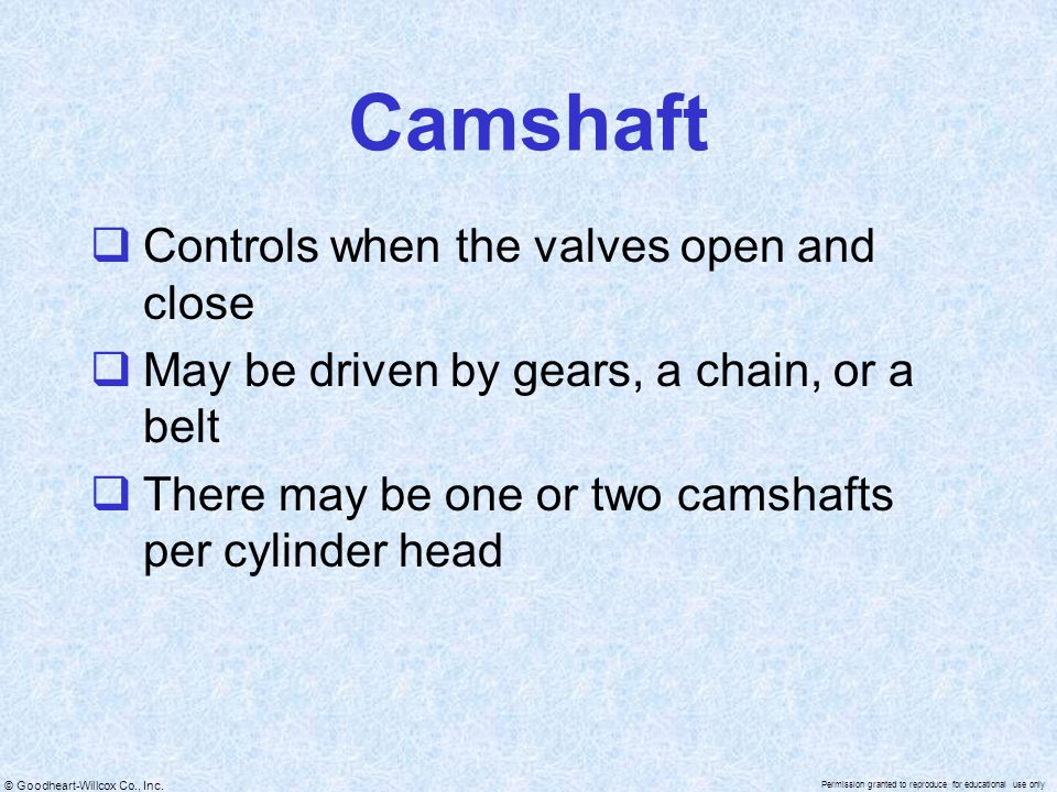 Camshaft Controls when the valves open and close