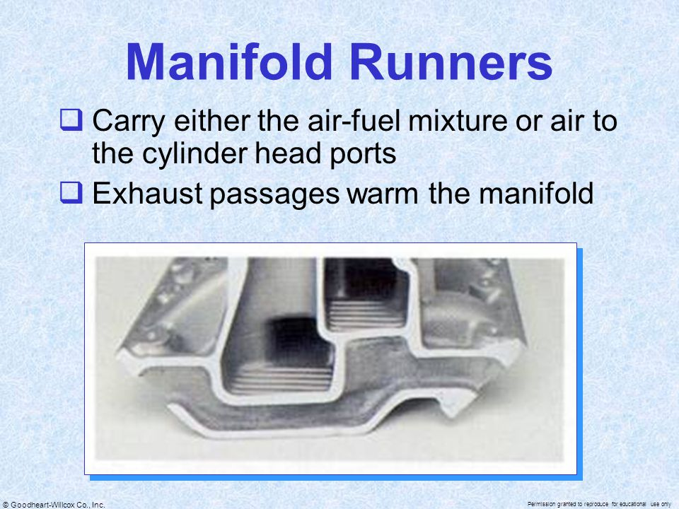 Manifold Runners Carry either the air-fuel mixture or air to the cylinder head ports.
