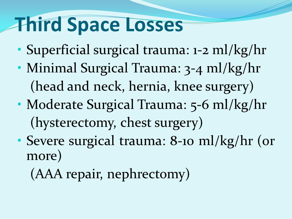 Third Space Losses Superficial surgical trauma: 1-2 ml/kg/hr