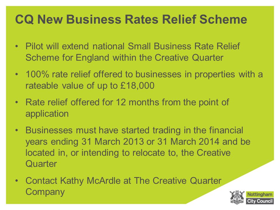 CQ New Business Rates Relief Scheme