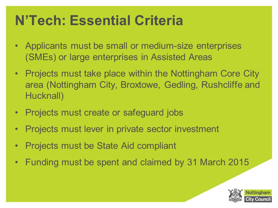 N'Tech: Essential Criteria