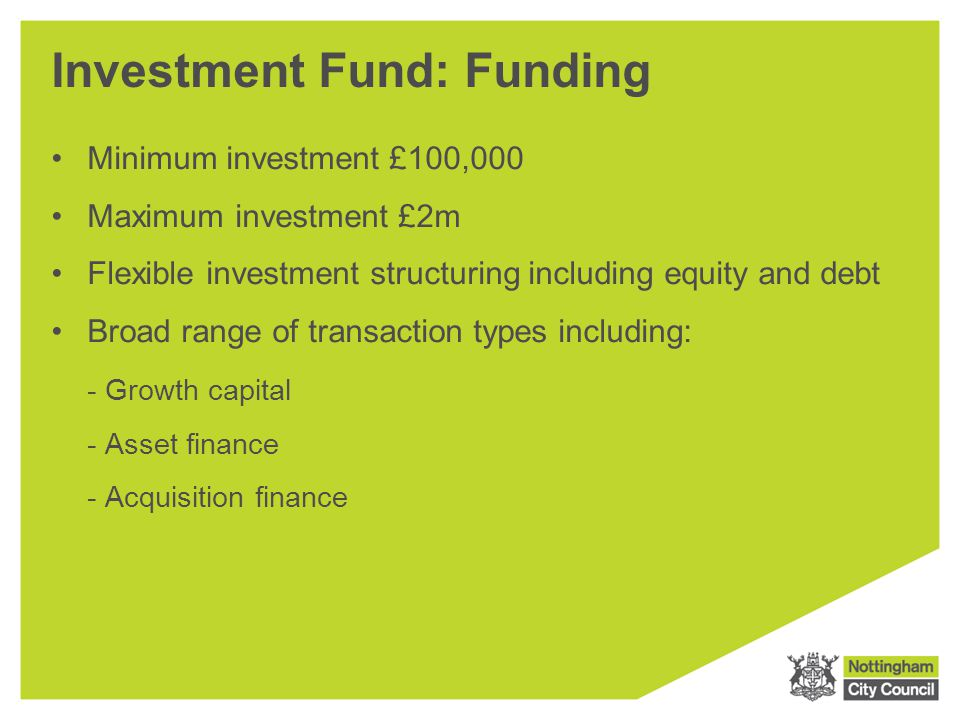 Investment Fund: Funding