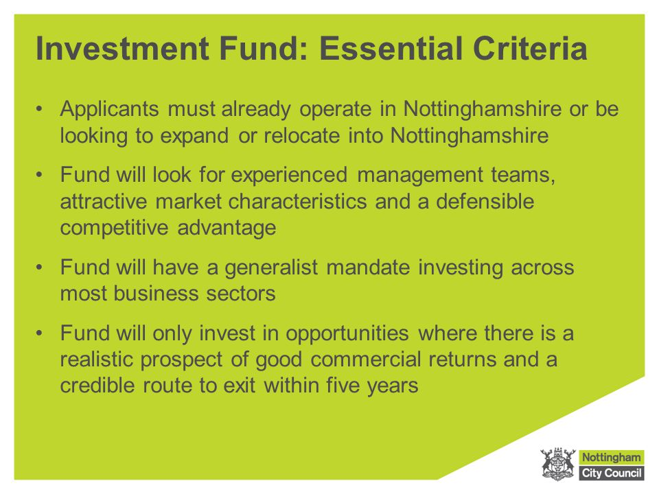 Investment Fund: Essential Criteria