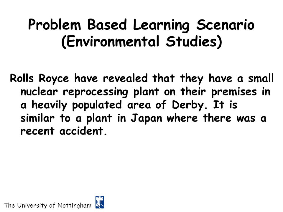 Problem Based Learning Scenario (Environmental Studies)