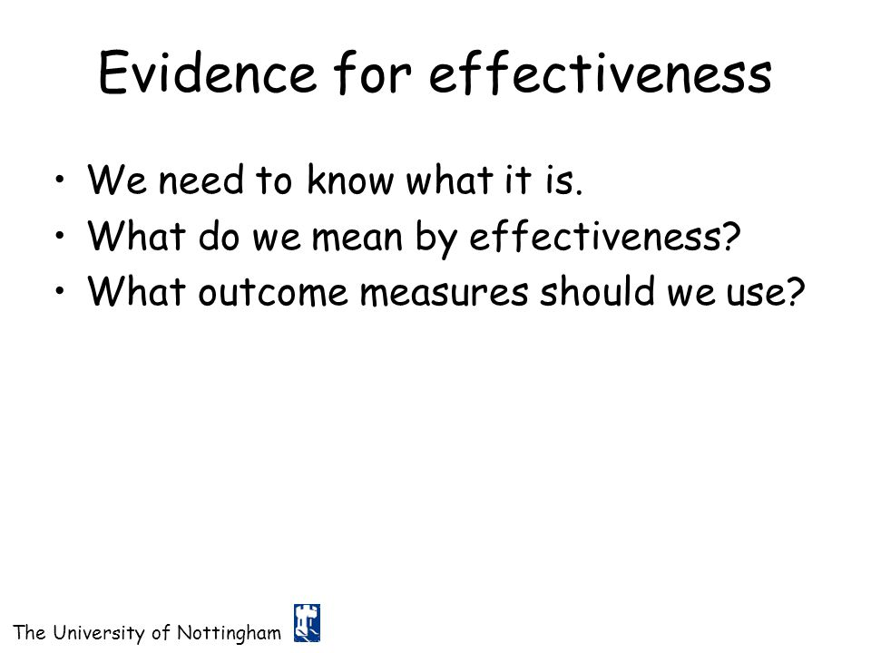 Evidence for effectiveness