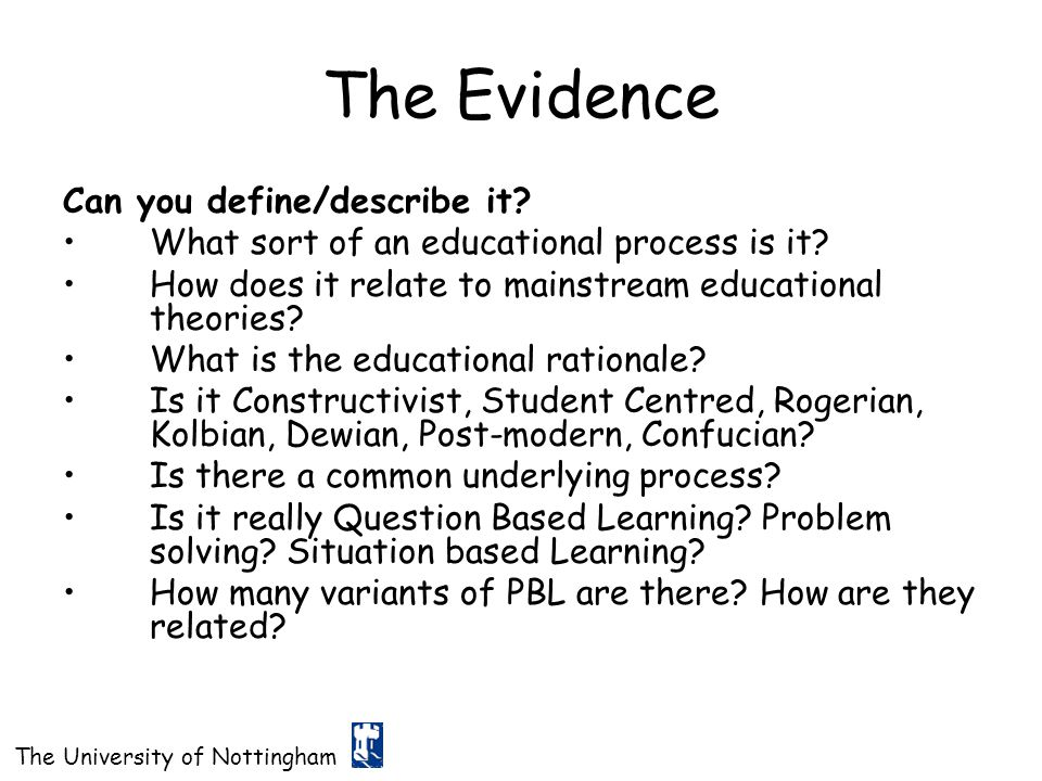 The Evidence Can you define/describe it