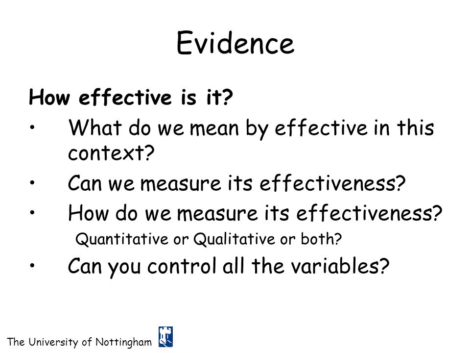 Evidence How effective is it