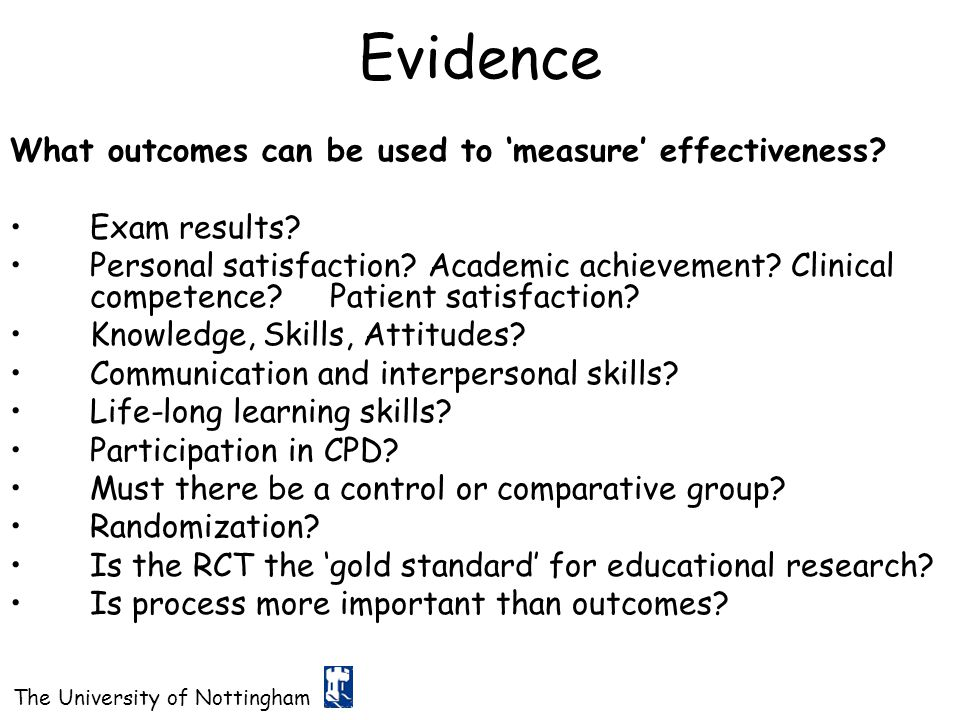 Evidence What outcomes can be used to 'measure' effectiveness