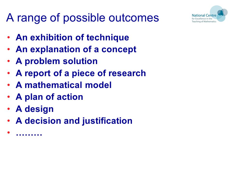 A range of possible outcomes
