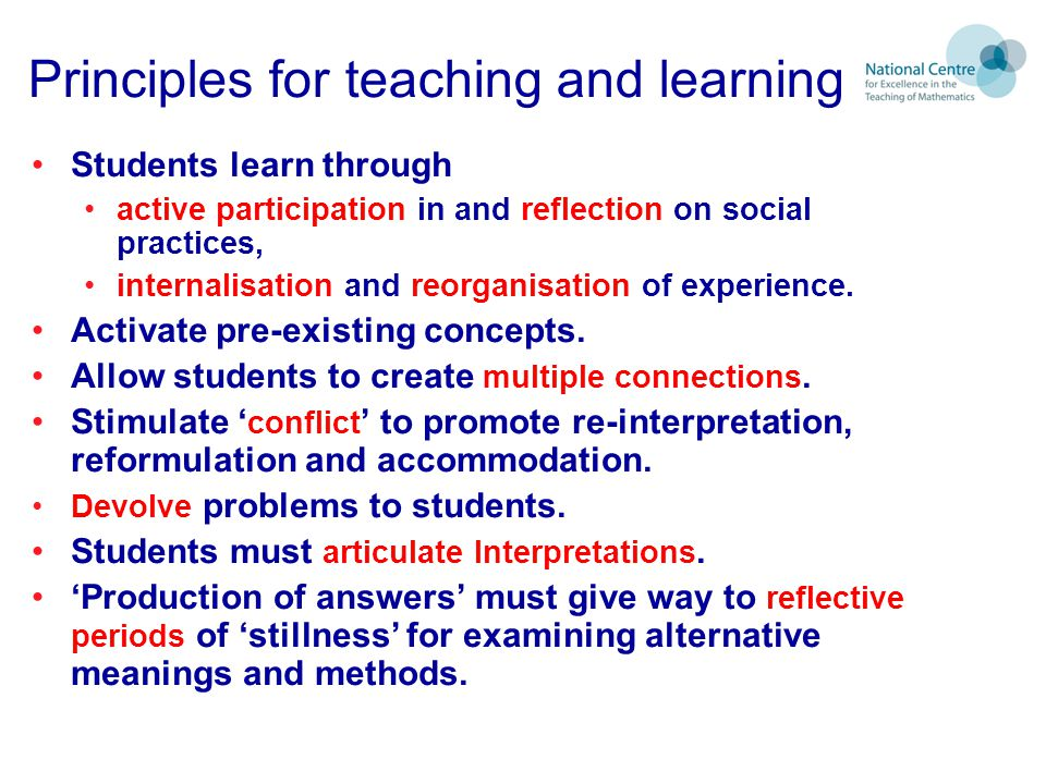 Principles for teaching and learning