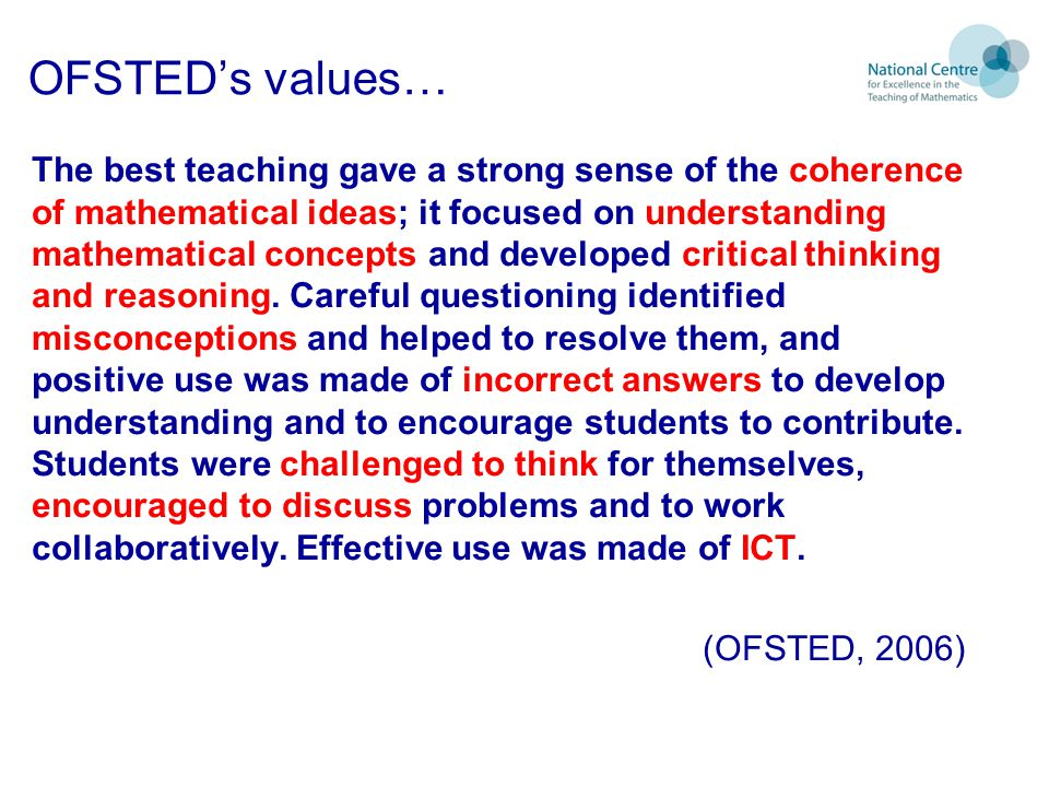 OFSTED's values…