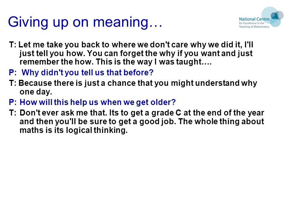 Giving up on meaning…