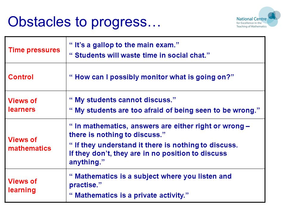 Obstacles to progress…