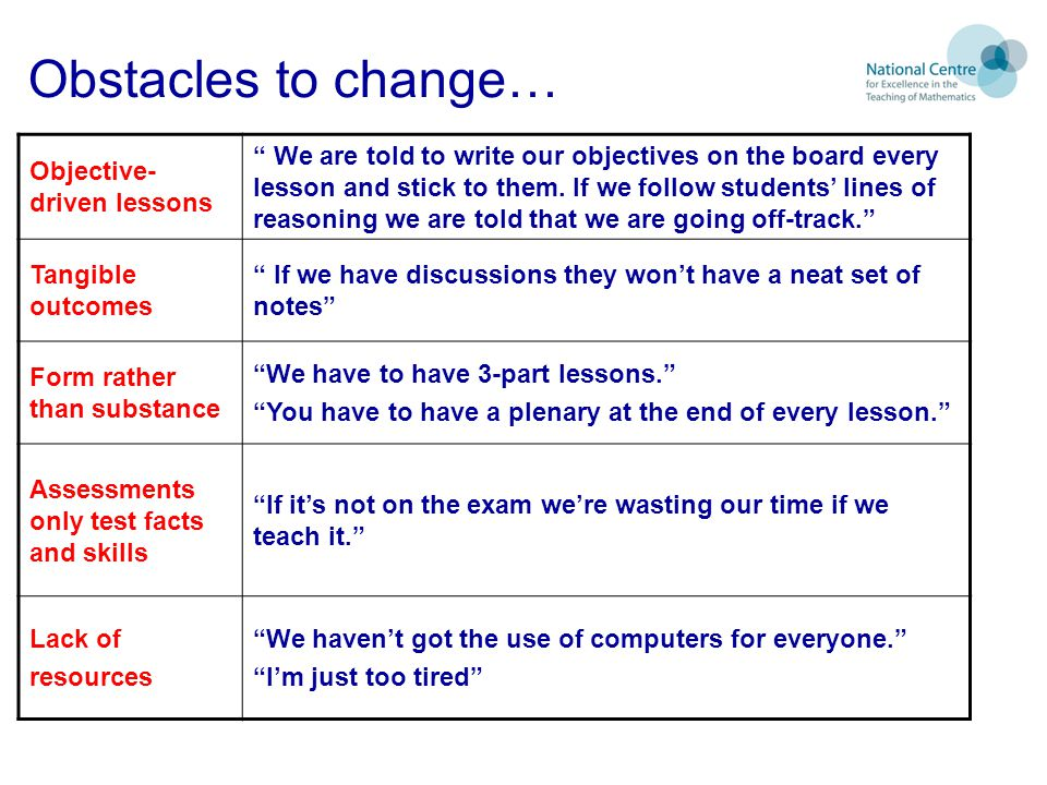 Obstacles to change… Objective-driven lessons