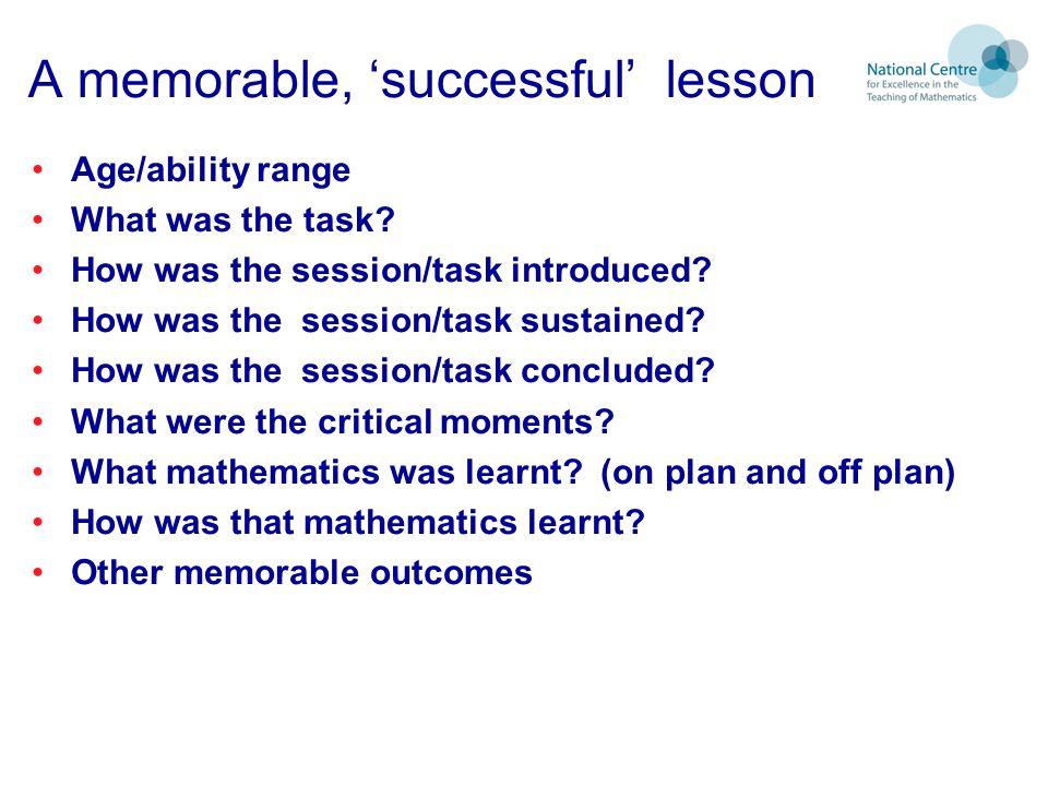 A memorable, 'successful' lesson