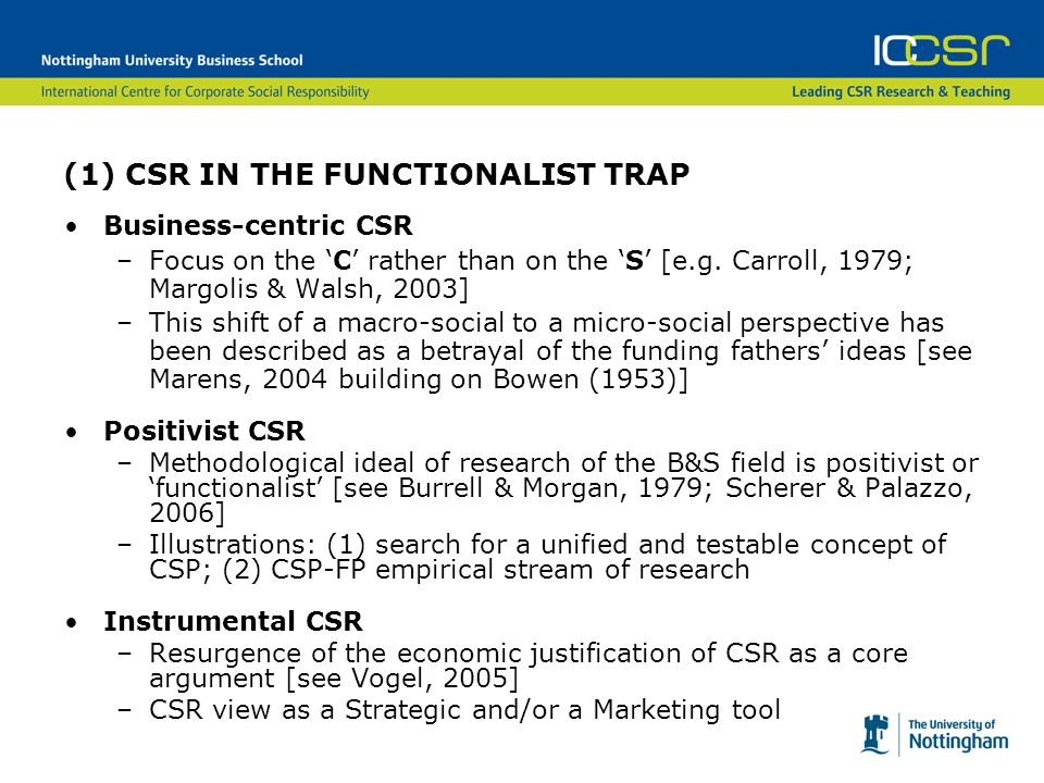 (1) CSR IN THE FUNCTIONALIST TRAP