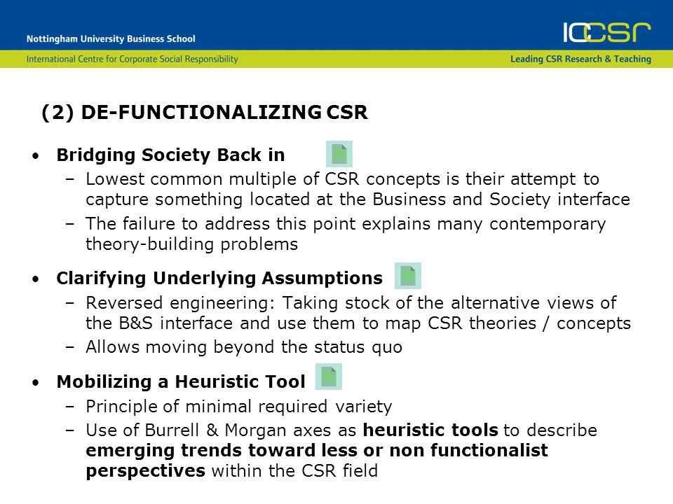 (2) DE-FUNCTIONALIZING CSR