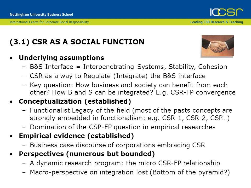 (3.1) CSR AS A SOCIAL FUNCTION